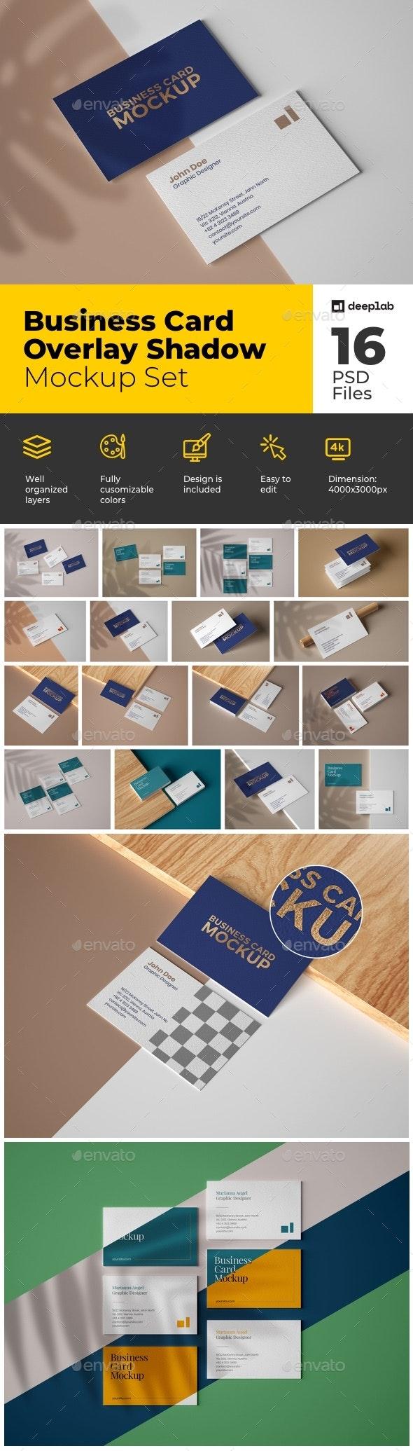 Business Card Mockup Set With Overlay Shadows - Product Mock-Ups Graphics