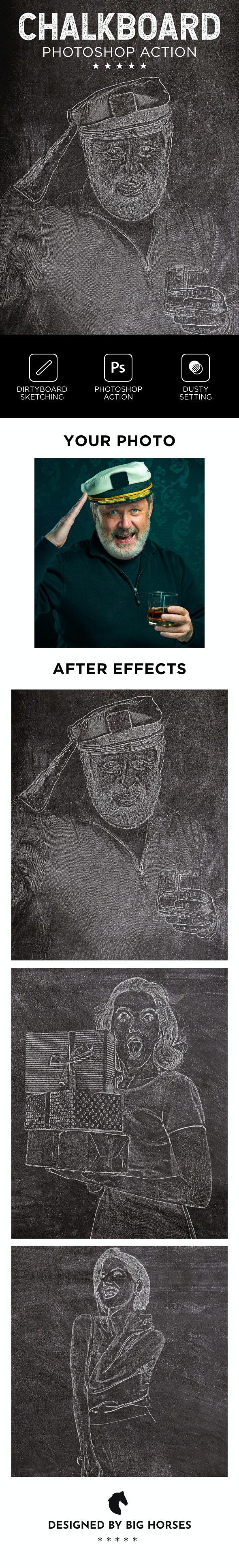 Chalkboard Photoshop Action - Actions Photoshop