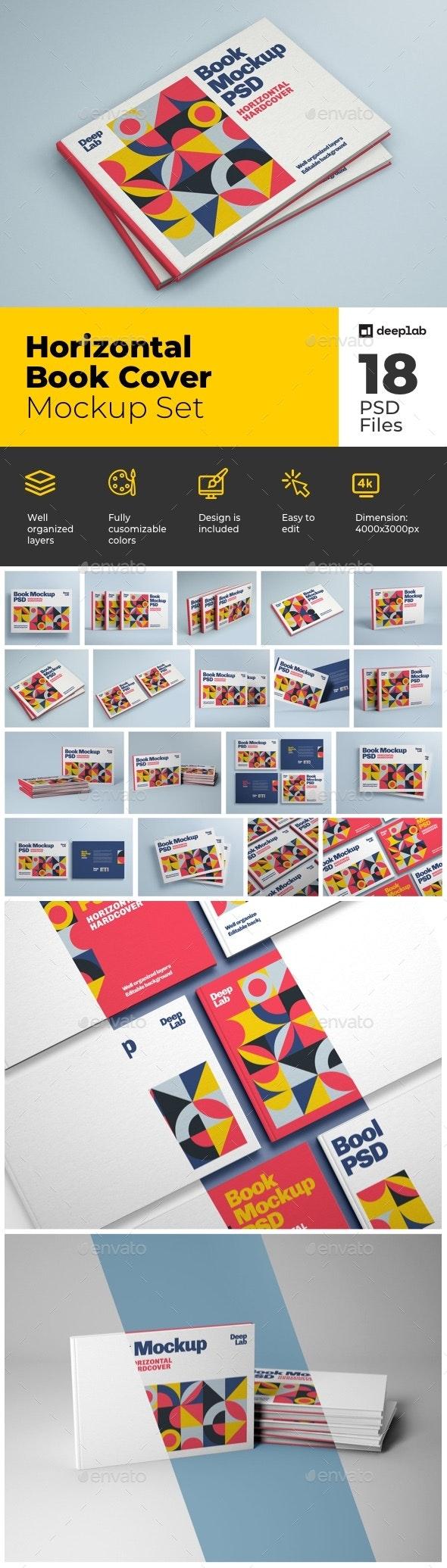 Horizontal Book Cover Mockup Set - Product Mock-Ups Graphics