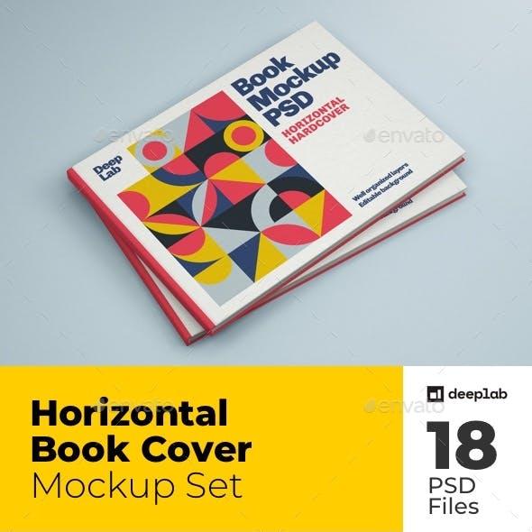 Horizontal Book Cover Mockup Set