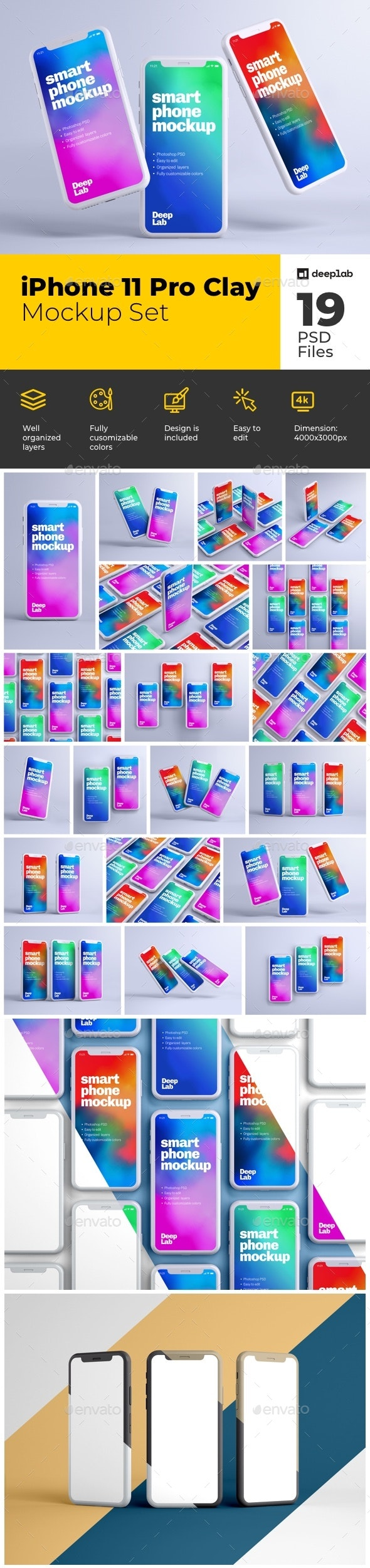 iPhone 11 Pro Clay Mockup Set