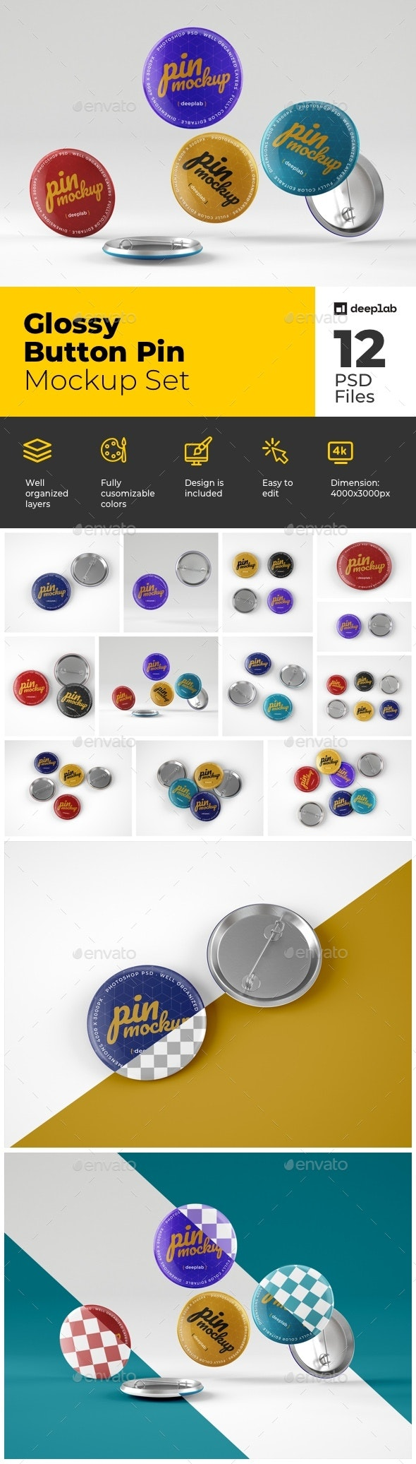 Glossy Button Pin Mockup Set - Product Mock-Ups Graphics