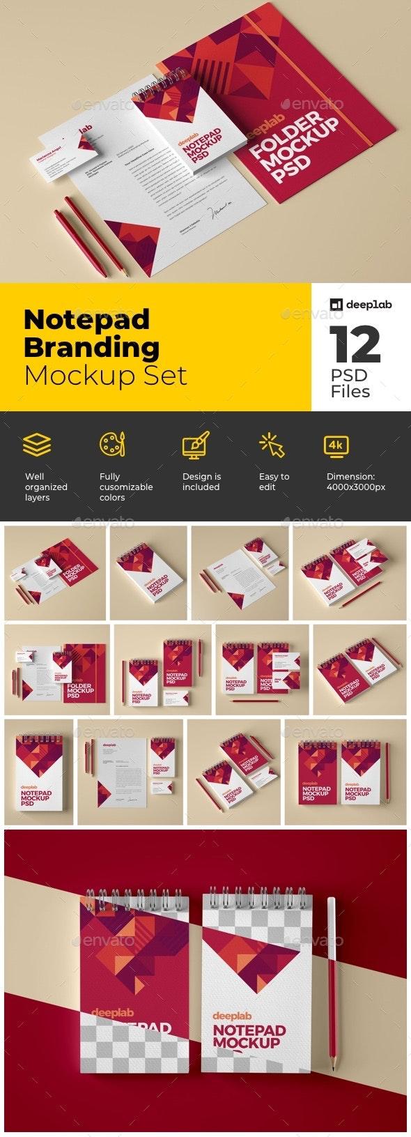 Notepad Branding Mockup Set - Product Mock-Ups Graphics