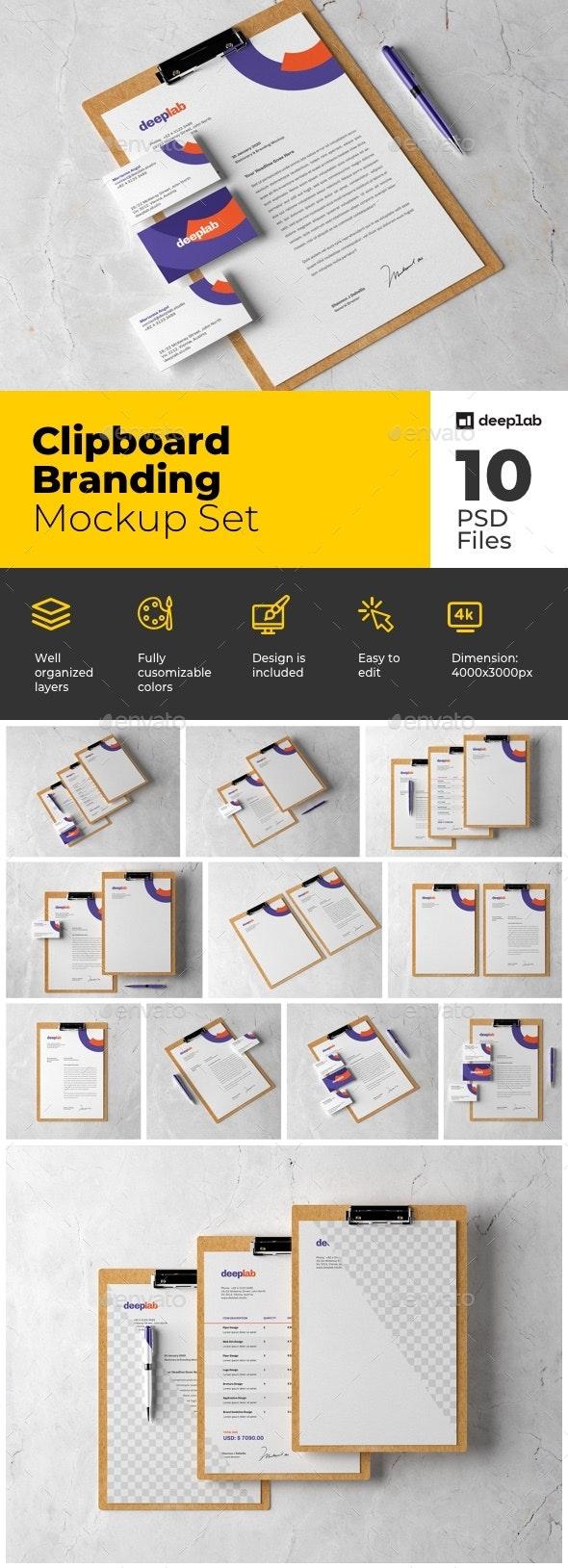 Kraft Clipboard Branding Mockup Set - Product Mock-Ups Graphics
