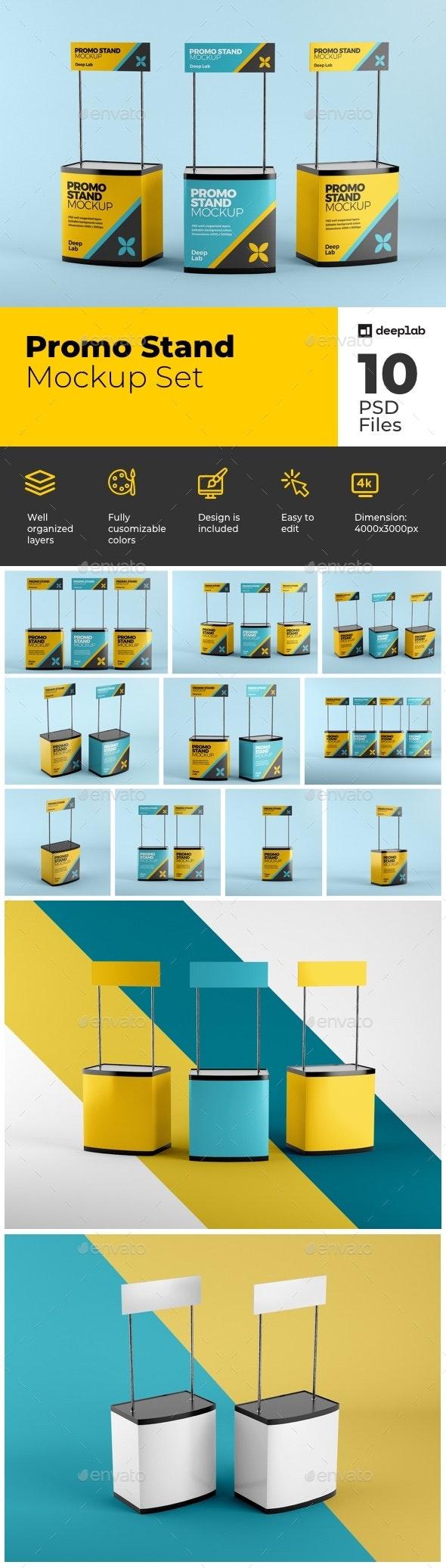 Promo Stand Mockup Set - Product Mock-Ups Graphics