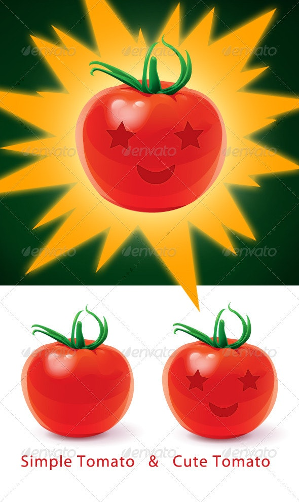 Vector Simple Tomato and Cute Tomato - Food Objects