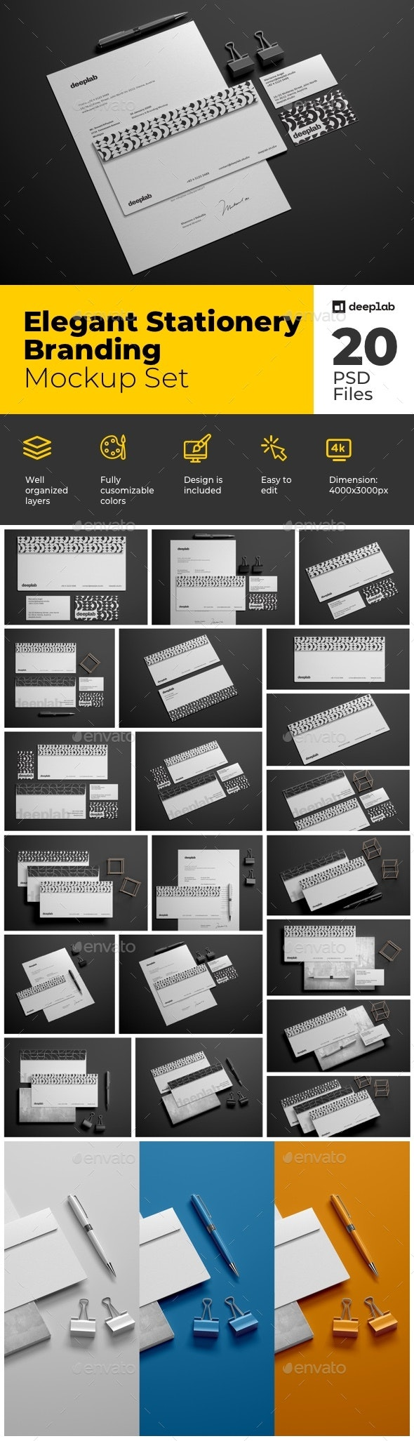 Envelope Branding Mockup Set - Product Mock-Ups Graphics