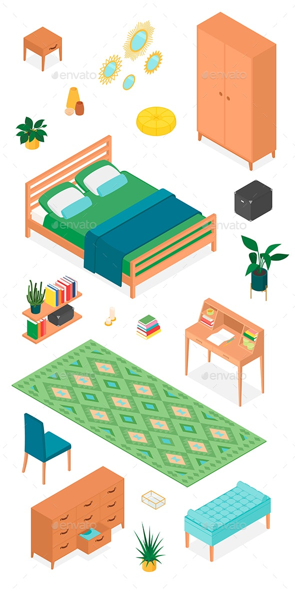 Isometric Vector Furniture Collection for Bedroom - Objects Vectors