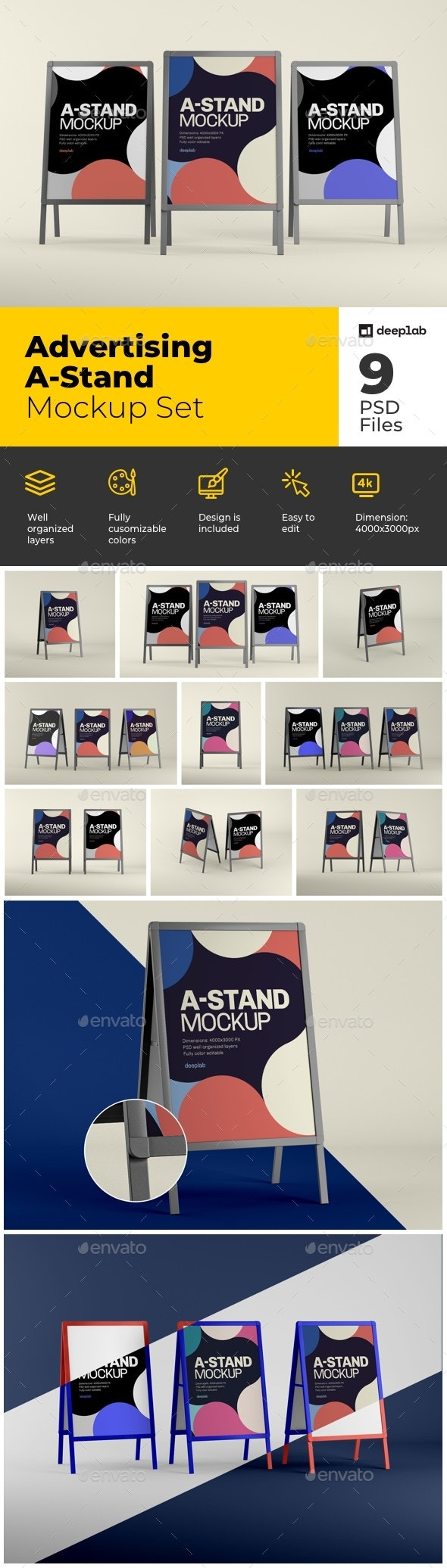 Advertising A-Stand Mockup Set - Product Mock-Ups Graphics