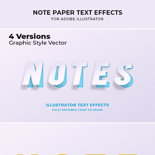 Note Paper Text Effect for Illustrator