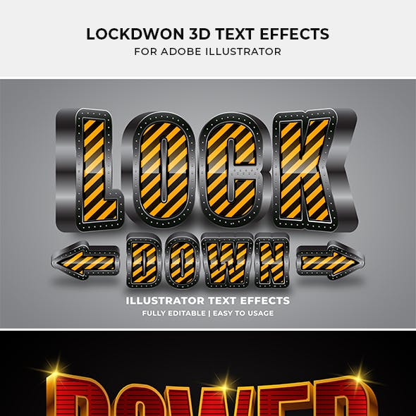 Lockdown 3d Text Effect for Illustrator