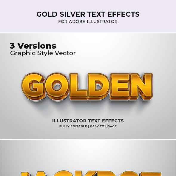 Gold Silver Jackpot 3d Text Effect For Illustrator