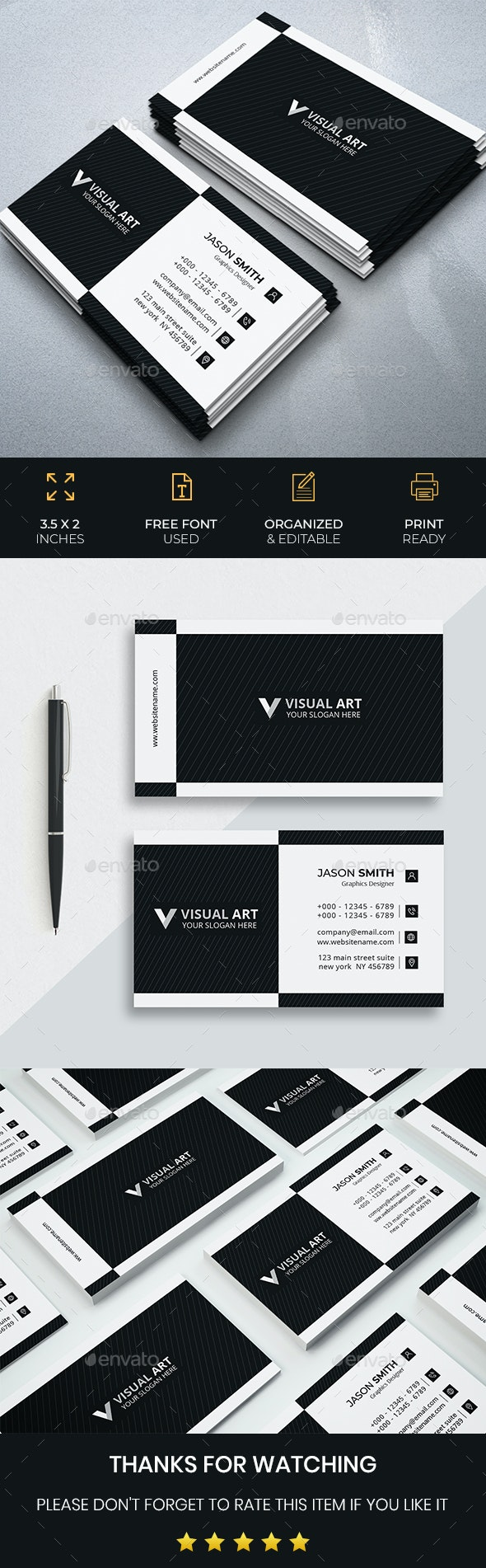 Black And White Modern Business Card - Business Cards Print Templates