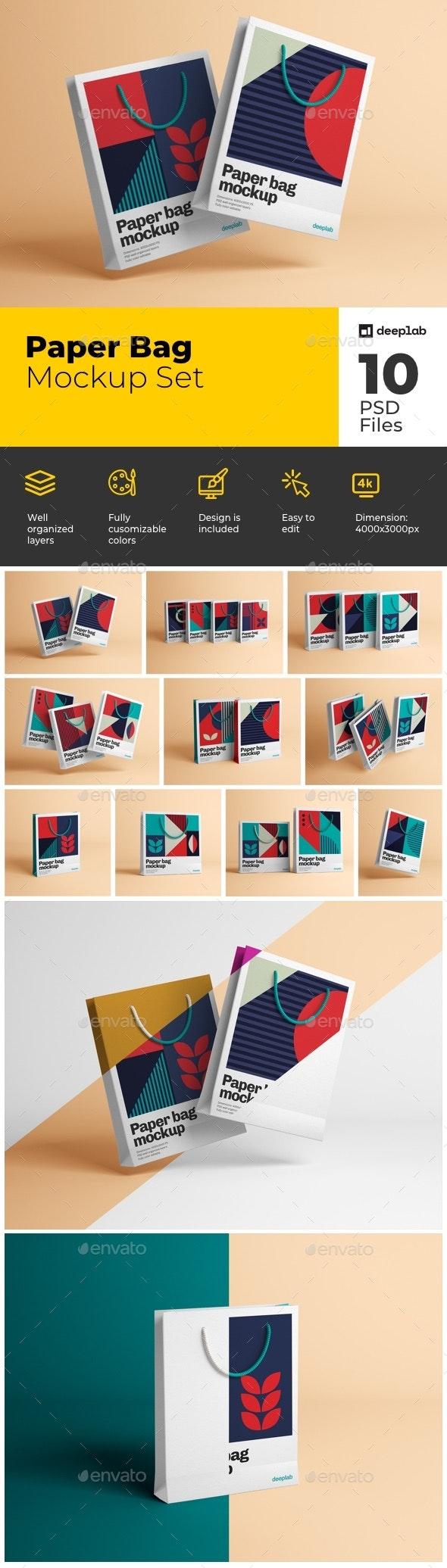 Paper Bag Mockup Set - Product Mock-Ups Graphics
