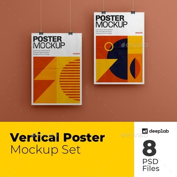 Vertical Poster Mockup Set