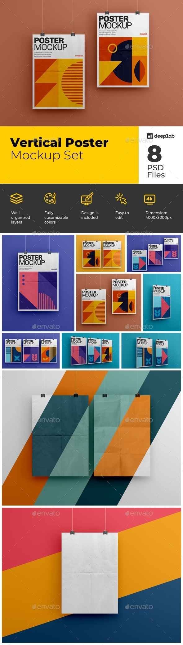 Vertical Poster Mockup Set - Product Mock-Ups Graphics