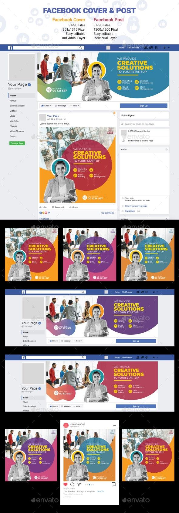Facebook Cover & Post - Social Media Web Elements