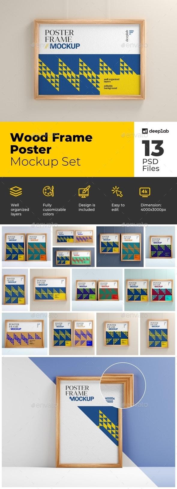 Wood Frame Poster Mockup Set - Product Mock-Ups Graphics