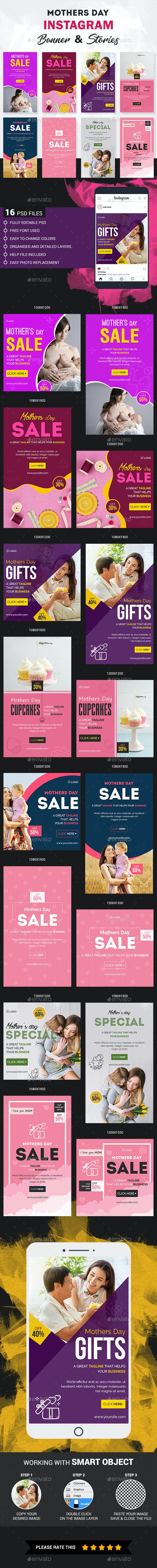 Mother's day Instagram Story and Banner Templates - Social Media Web Elements