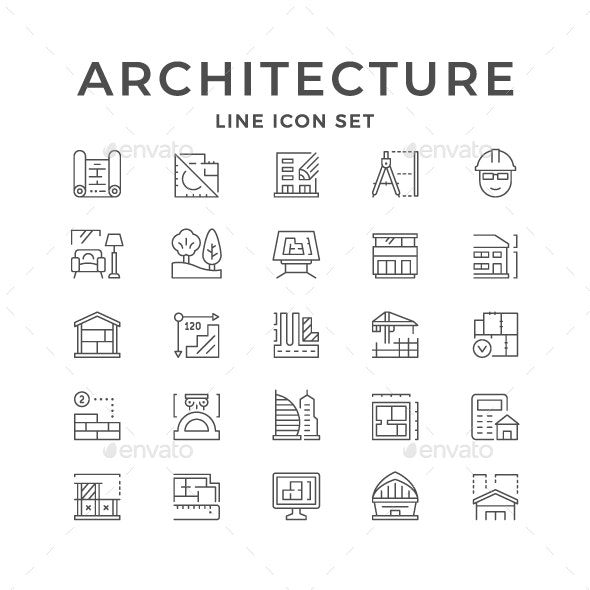Set Line Icons of Architecture - Man-made objects Objects