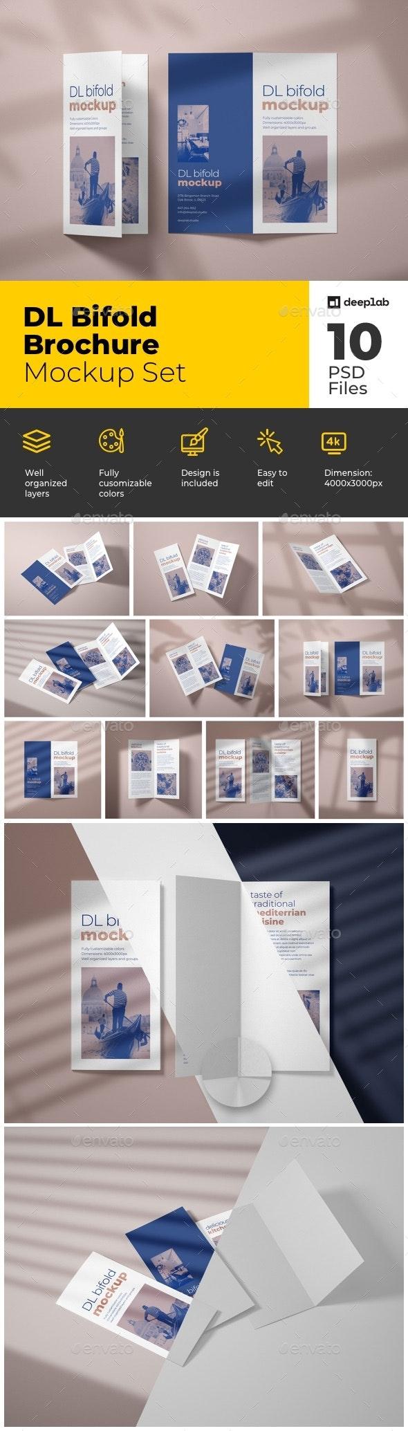 DL Bifold Brochure Mockup Set - Product Mock-Ups Graphics