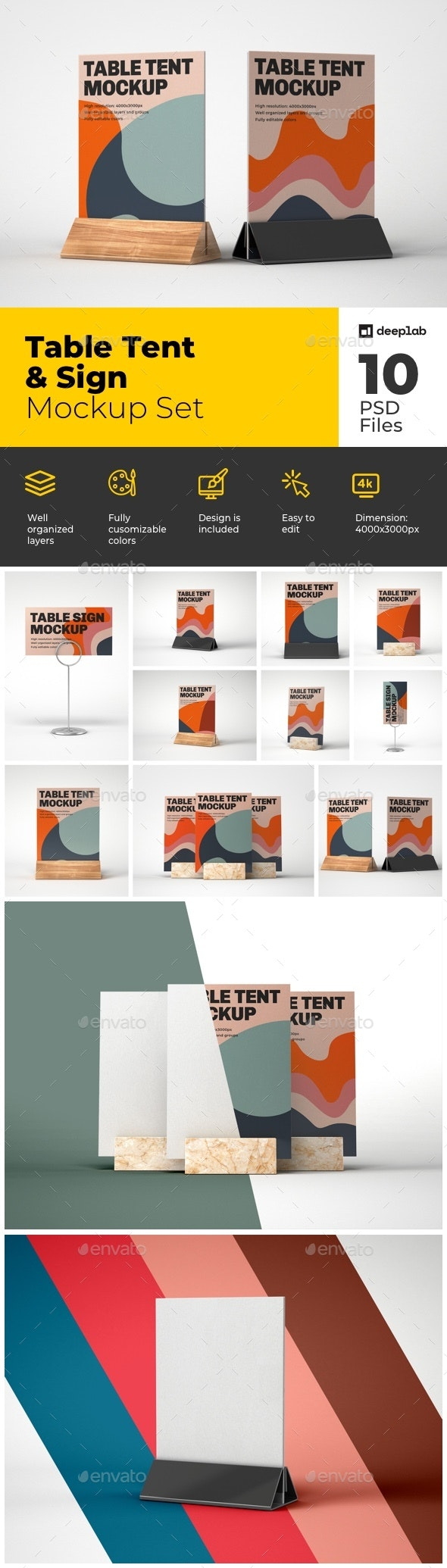 Table Tent and Sign Mockup Set - Product Mock-Ups Graphics