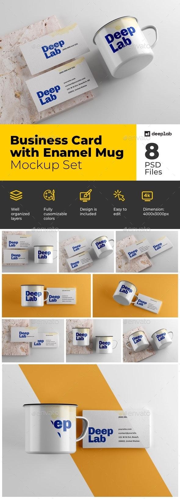 Business Card with Enamel Mug Mockup Set - Product Mock-Ups Graphics