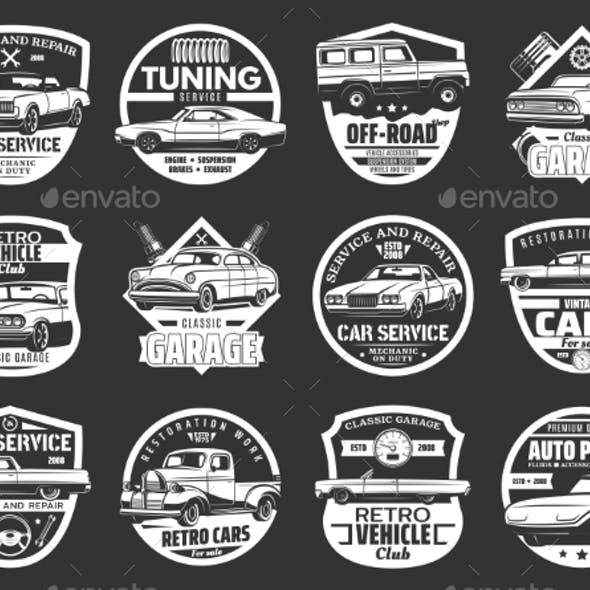 Retro Car, Engine, Spark Plug Icons