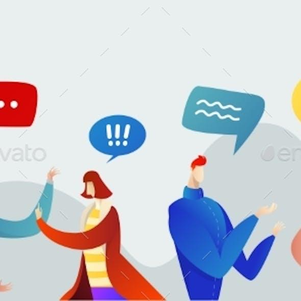 Placeit – Business People Group Chat Communication Bubble
