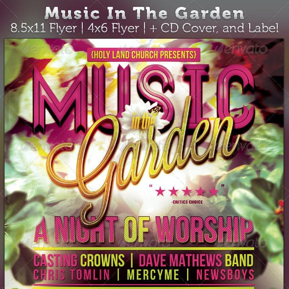 Music In The Garden Flyer and CD Cover Template