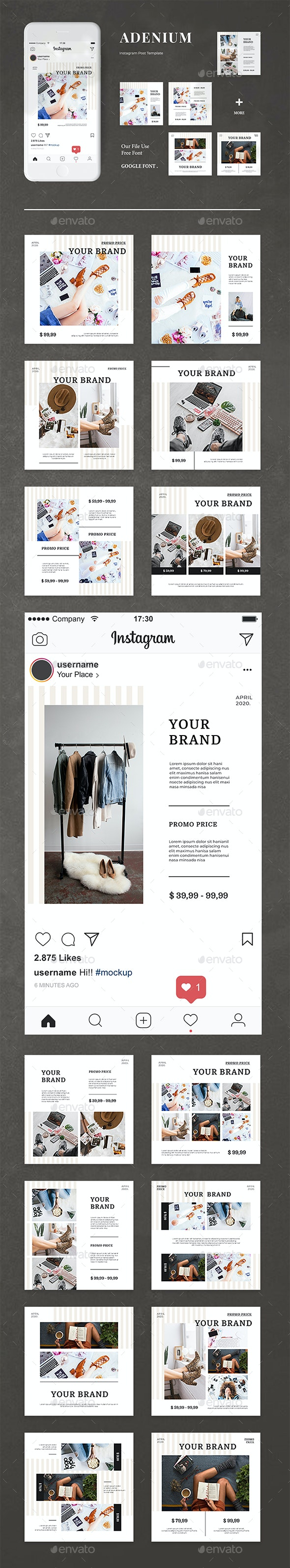 Adenium - Instagram Post Template - Social Media Web Elements