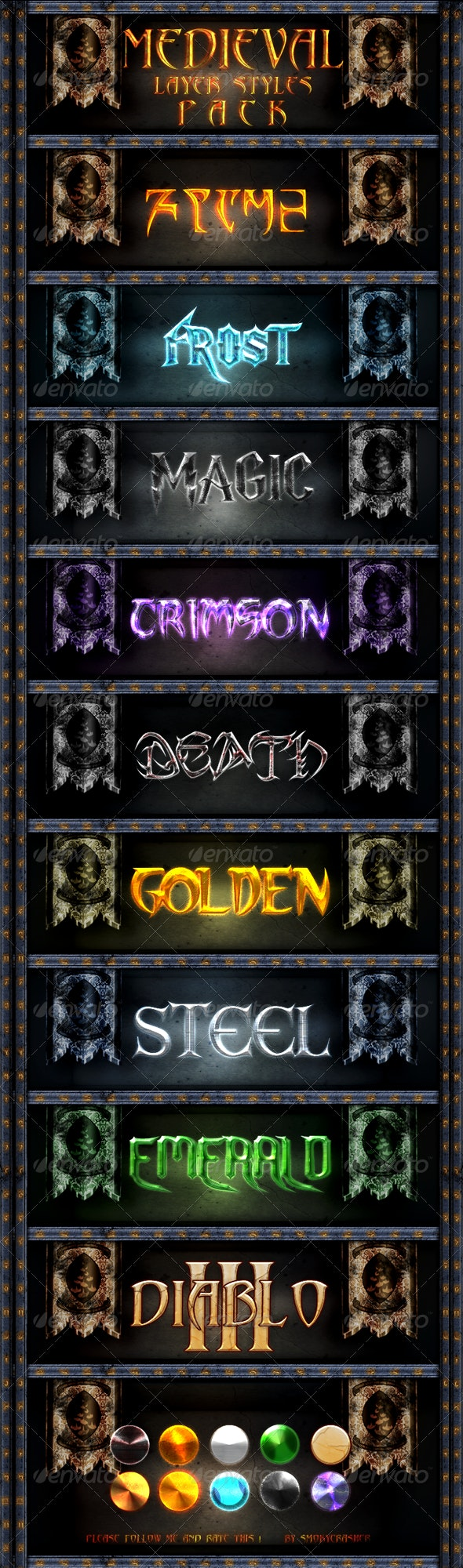 Medieval Layer Style Pack - Text Effects Actions
