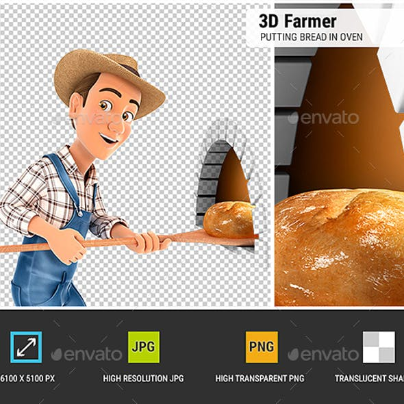 3D Farmer Putting Bread in Oven