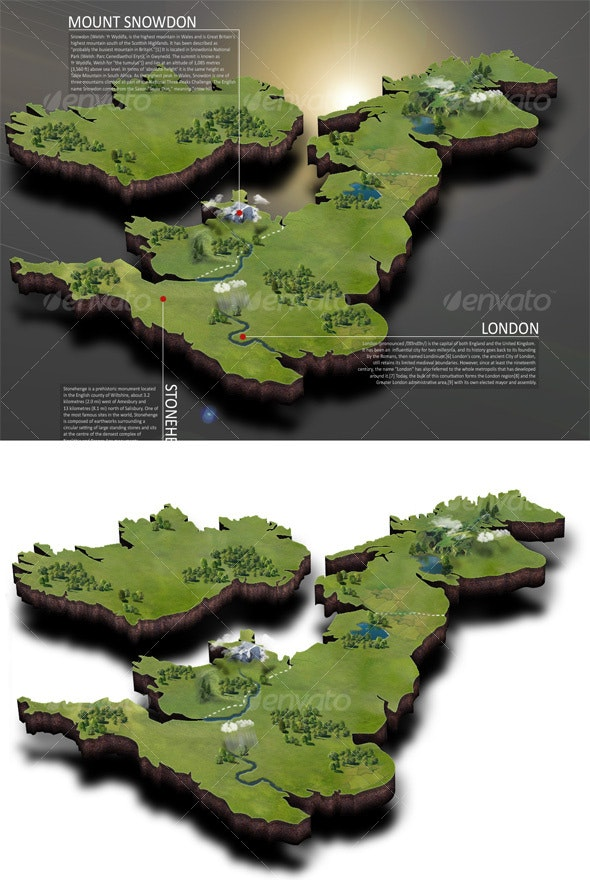 UK Map - Scenes Illustrations