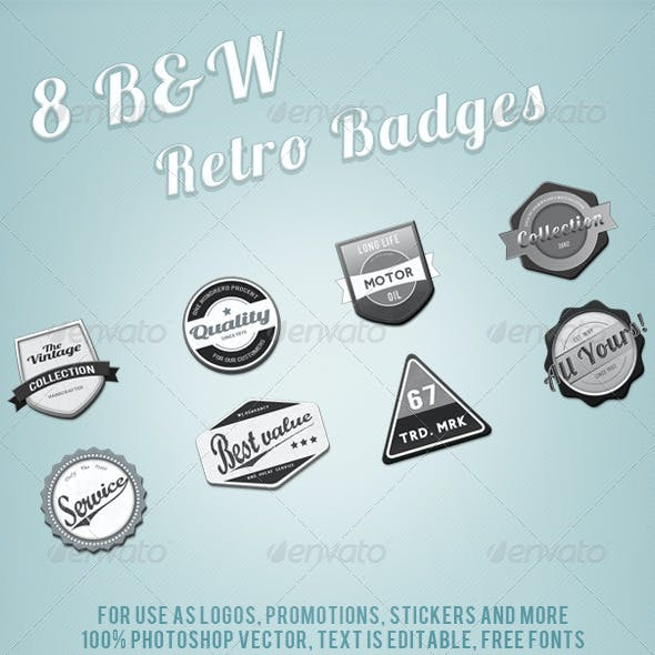 Black & White Retro Web Badges
