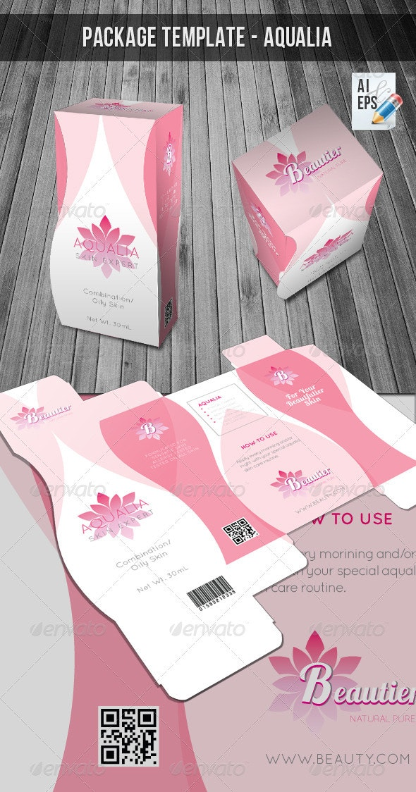 Packaging Template - Aqualia Beauty - Packaging Print Templates