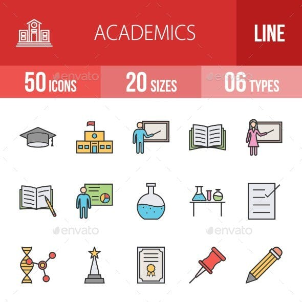 Academics Filled Line Icons Season II