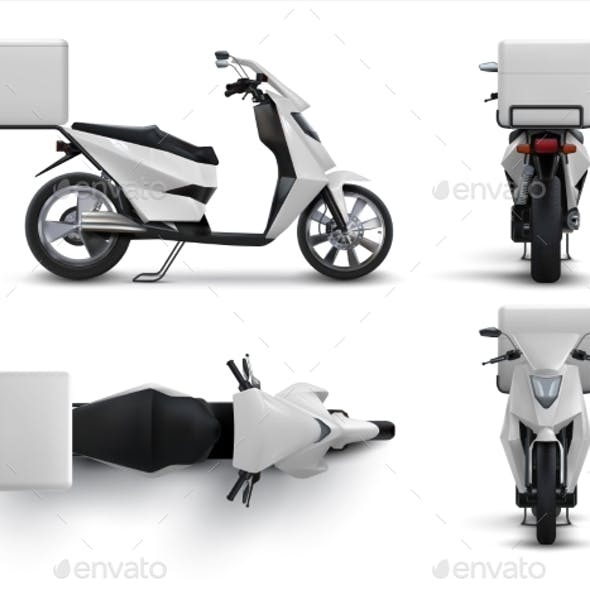 Delivery Scooter. Realistic Motorcycle with Blank