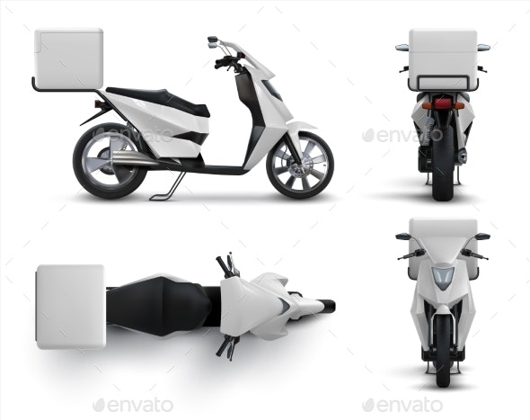 Delivery Scooter. Realistic Motorcycle with Blank - Man-made Objects Objects