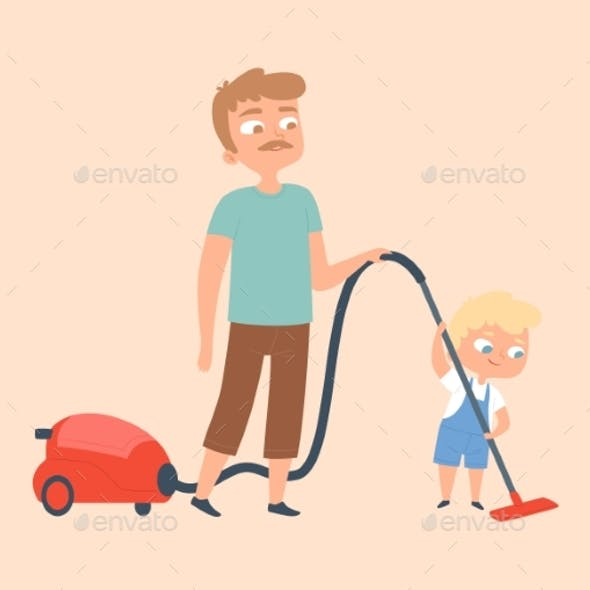 Father and Son Vacuuming. Householding, Apartment