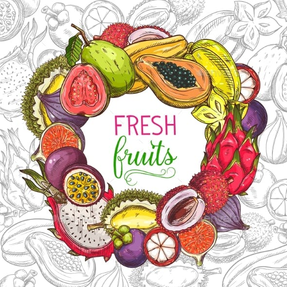 Tropical Fruits Banner, Exotic Fruits Sketch