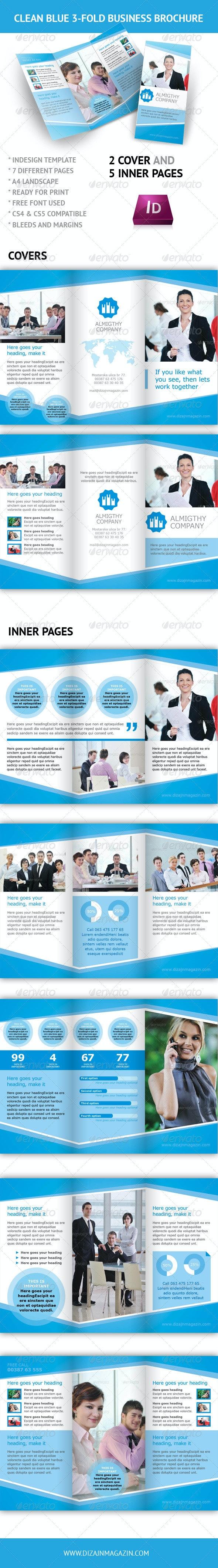 Clean Blue 3-fold Business Brochure - InDesign - Corporate Brochures