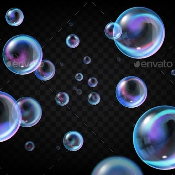 Realistic Soap Bubbles on Transparent Background