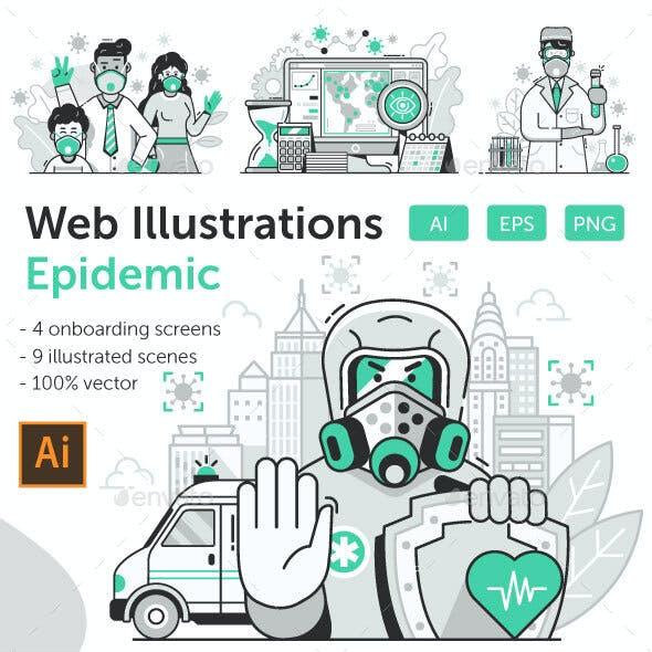 Virus World Pandemic Illustrations