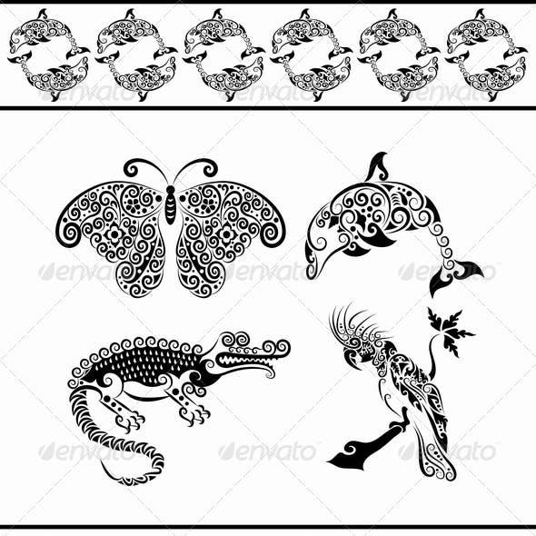 Animal ornaments (dolphin, crocodile, cockatoo,)