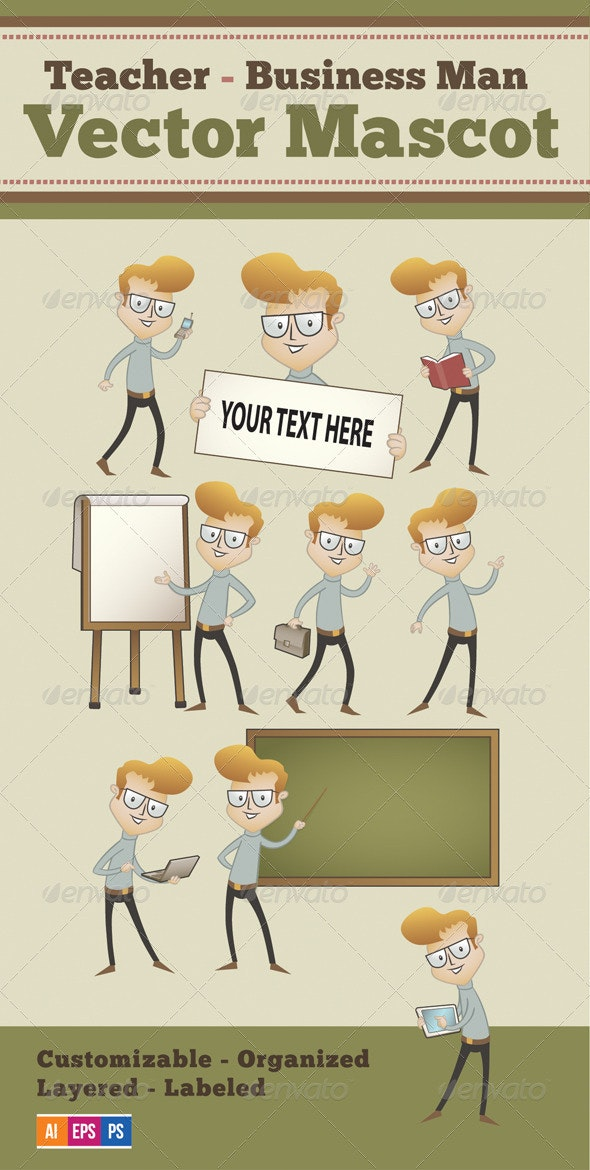 Vector Mascot - Teacher - Business Man - 9 Poses - Characters Vectors