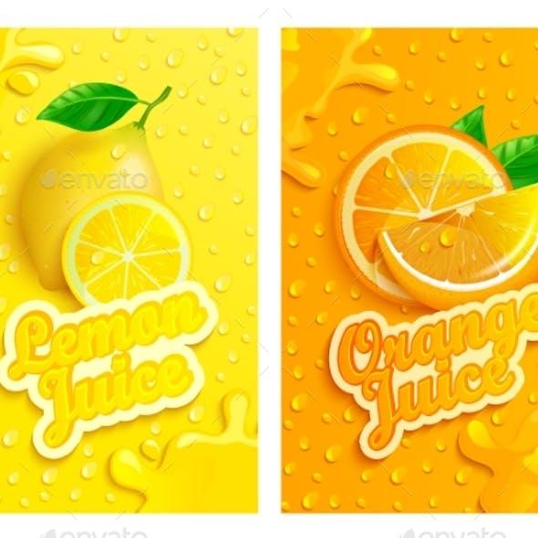 Set of Fresh Lemon and Orange Juices Backgrounds