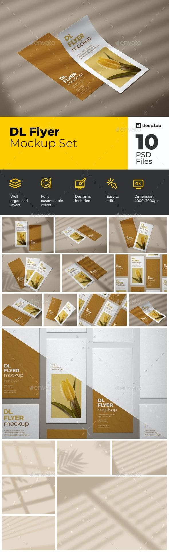 DL Flyer Mockup Set - Product Mock-Ups Graphics