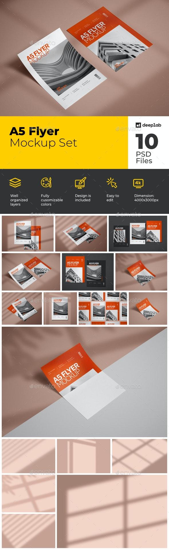 A5 Flyer Mockup Set - Product Mock-Ups Graphics