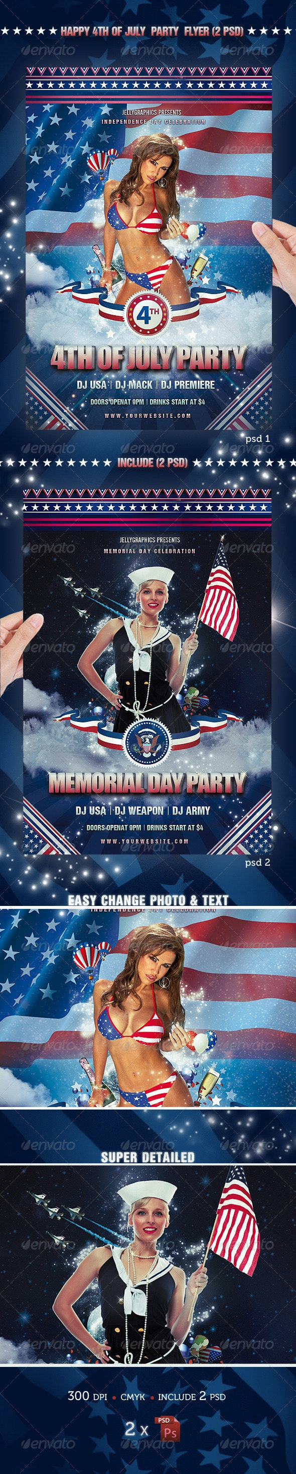 4th Of July Party Flyer Template - Flyers Print Templates